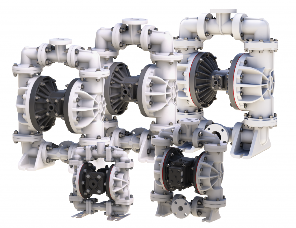 Air-operated double-diaphragm pumps by Sandpiper work for chemicals